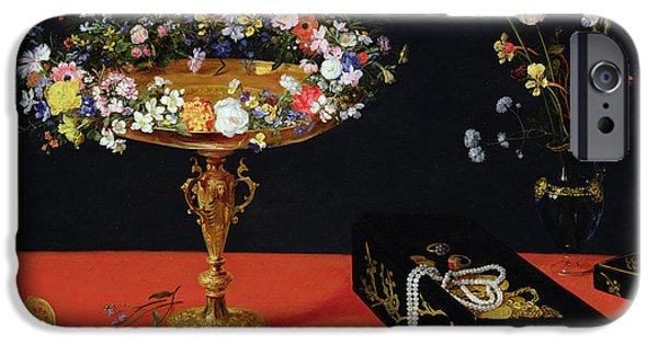 Treasure Box iPhone Cases - A Still Life Of A Tazza With Flowers Oil On Panel iPhone Case by Jan the Younger Brueghel