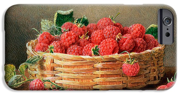 Basket iPhone Cases - A Still Life of Raspberries in a Wicker Basket  iPhone Case by William B Hough