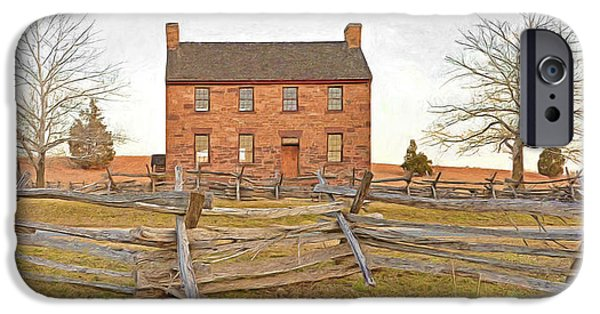 Confederate Hospital iPhone Cases - Stone House / Manassas National Battlefield / Winter Morning iPhone Case by Digital Photographic Arts