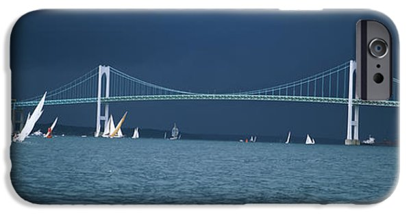 Storm iPhone Cases - A Storm Approaches Sailboats Racing iPhone Case by Panoramic Images