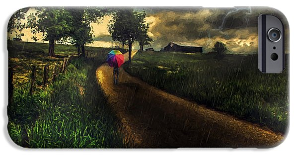 Asphalt iPhone Cases - A Stormy Night iPhone Case by Darren Fisher