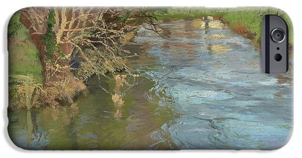 Reflections In River iPhone Cases - A Stream in Spring iPhone Case by Fritz Thaulow
