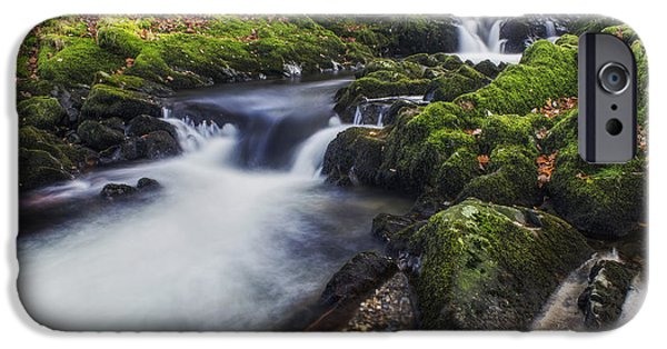 Fall Scenes iPhone Cases - A Stream of Snowdon iPhone Case by Ian Mitchell