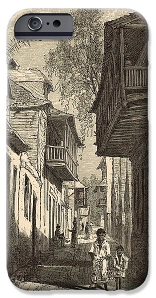 Horse And Buggy Drawings iPhone Cases - A Street in St. Augustine 1872 Engraving iPhone Case by Antique Engravings
