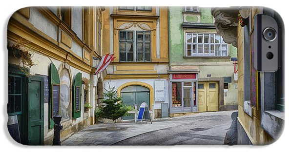 Sign iPhone Cases - A Street in Vienna iPhone Case by Joan Carroll