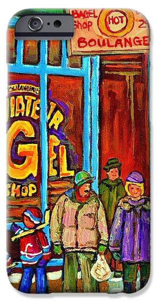 Montreal Bagels iPhone Cases - A Stroll After The Hockey Game St Viateur Bagel Montreal Winter Street Carole Spandau iPhone Case by Carole Spandau