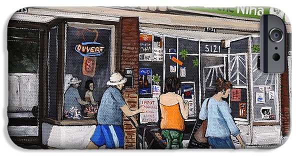 Montreal Street Life Paintings iPhone Cases - A Stroll Down Wellington Street in Verdun iPhone Case by Reb Frost