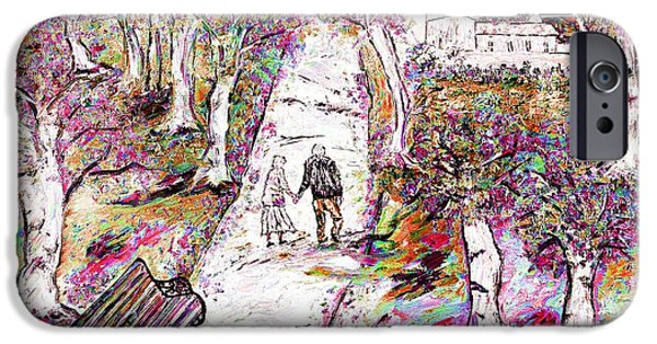 Park Scene Mixed Media iPhone Cases - A stroll in autumn iPhone Case by Loredana Messina