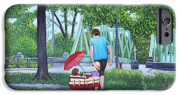 Park Scene Paintings iPhone Cases - A Stroll in the Park iPhone Case by Reb Frost