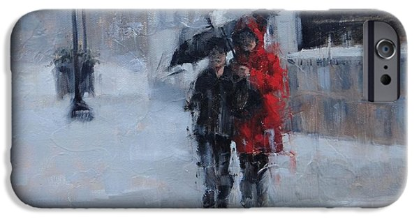 Rainy Day iPhone Cases - A Stroll in the Rain iPhone Case by Laura Lee Zanghetti