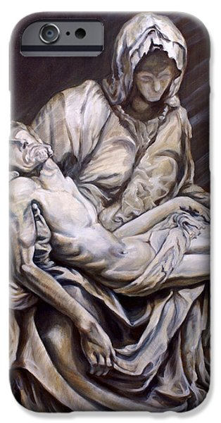 The Passion Of Christ Drawings iPhone Cases - Study of the Michelangelos Pieta in oil iPhone Case by Laura Ury
