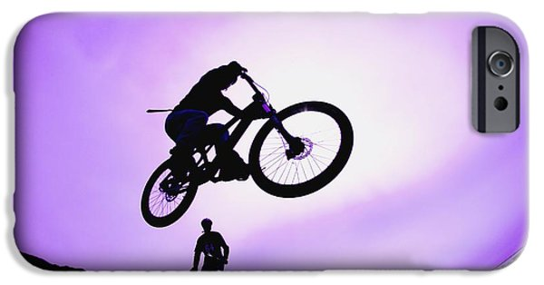 Observer iPhone Cases - A Stunt Cyclist Silhouette iPhone Case by Corey Hochachka
