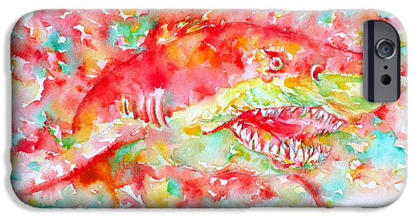 Shark Paintings iPhone Cases - A Sudden Turn Can Come-a Road Appear iPhone Case by Fabrizio Cassetta