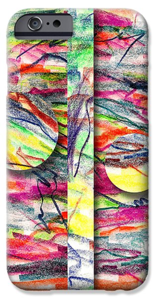 Colored Pencil Abstract iPhone Cases - A Summers Day Breeze iPhone Case by Peter Piatt