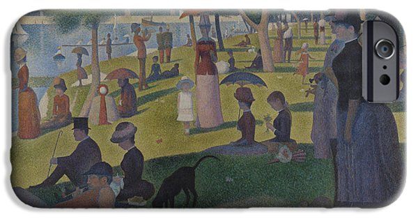 Seurat iPhone Cases - A Sunday on La Grande Jatte iPhone Case by Georges Seurat