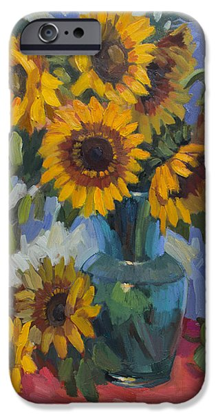 Glass Vase iPhone Cases - A Sunflower Day iPhone Case by Diane McClary