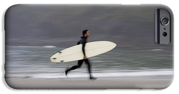 Wet Suit iPhone Cases - A Surfer, Running With Board Along The iPhone Case by Deddeda