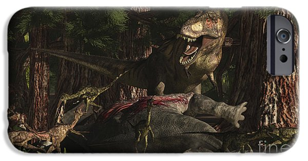 Food Paining iPhone Cases - A T-rex Returns To His Kill And Finds iPhone Case by Arthur Dorety