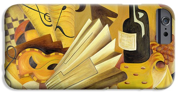 Wine Bottles iPhone Cases - A Theatrical Dinner, 1998 Oil On Canvas iPhone Case by Carolyn Hubbard-Ford