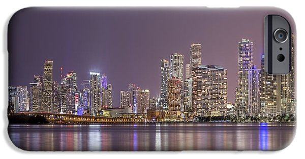 Miami Photographs iPhone Cases - A Thousand Lights In The City iPhone Case by Evelina Kremsdorf