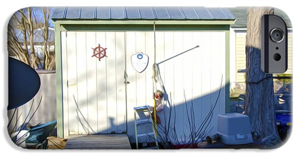 Work Tool Paintings iPhone Cases - A tool shed in the back yard iPhone Case by Lanjee Chee