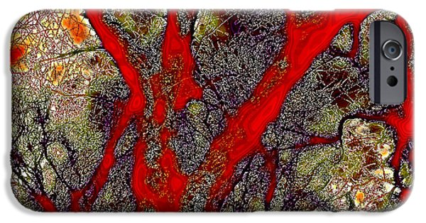 Surreal Landscape iPhone Cases - A Touch of Autumn Abstract iPhone Case by David Patterson