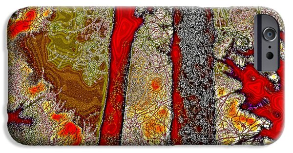 Surreal Landscape iPhone Cases - A Touch of Autumn Abstract V iPhone Case by David Patterson