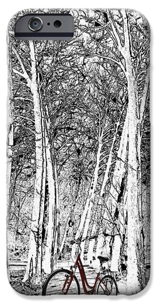 Pen And Ink iPhone Cases - A Touch Of Red iPhone Case by Liane Wright