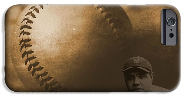 Boston Red Sox iPhone Cases - A Tribute To Babe Ruth And Baseball iPhone Case by Dan Sproul