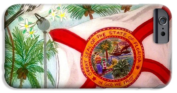 States Pastels iPhone Cases - A Tribute to Florida iPhone Case by Renee Michelle Wenker