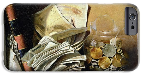 Still Life iPhone Cases - A trompe loeil of paper money coins iPhone Case by French School