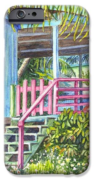 A Tropical Beach House iPhone Case by Carol Wisniewski