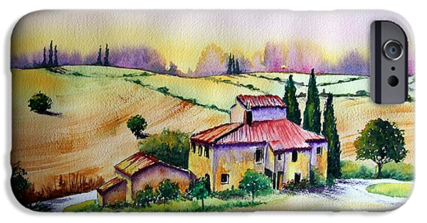 Bales Paintings iPhone Cases - A Tuscann Farmhouse iPhone Case by Maria Barry