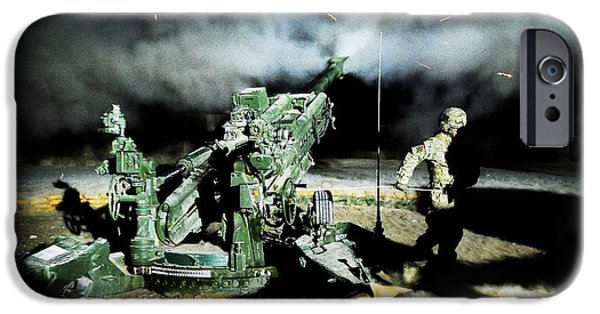 1st Base iPhone Cases - A United States gun crew fire illumination rounds at Forward Operating Base Hadrian iPhone Case by Paul Fearn