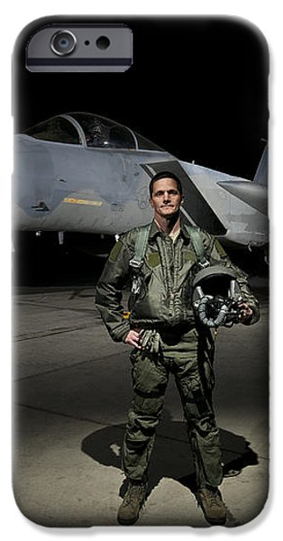 A U.s. Air Force Pilot Stands In Front iPhone Case by Terry Moore