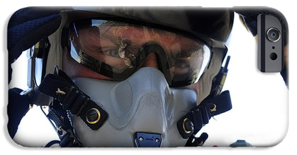 Hand On Head iPhone Cases - A U.s. Airman Secures His Oxygen Mask iPhone Case by Stocktrek Images