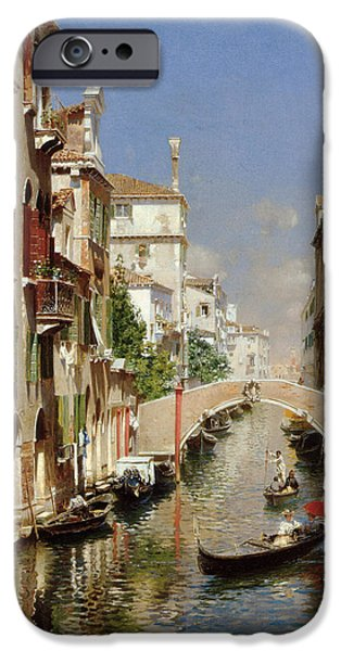 Rubens iPhone Cases - A Venetian Canal  iPhone Case by Rubens Santoro