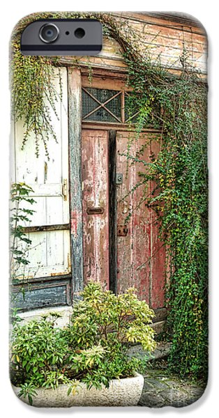 French Doors iPhone Cases - A Very Old Door iPhone Case by Olivier Le Queinec