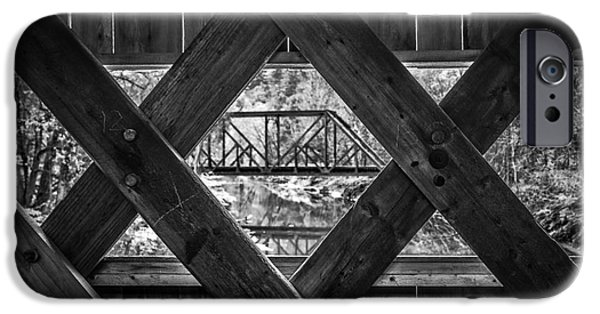 Covered Bridge iPhone Cases - A view from an old covered bridge in Vermont iPhone Case by Edward Fielding