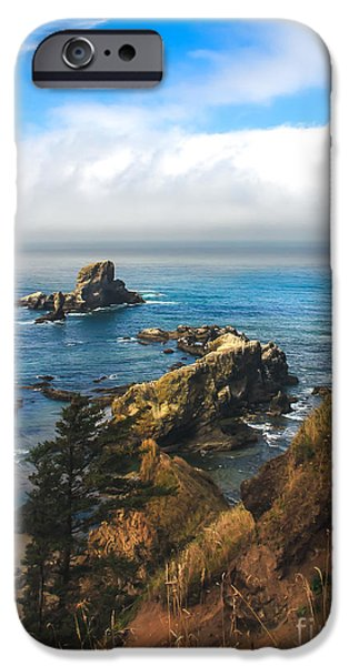 Seacapes iPhone Cases - A View From Ecola State Park iPhone Case by Robert Bales