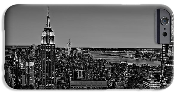 Fall iPhone Cases - A View From The Top BW iPhone Case by Susan Candelario