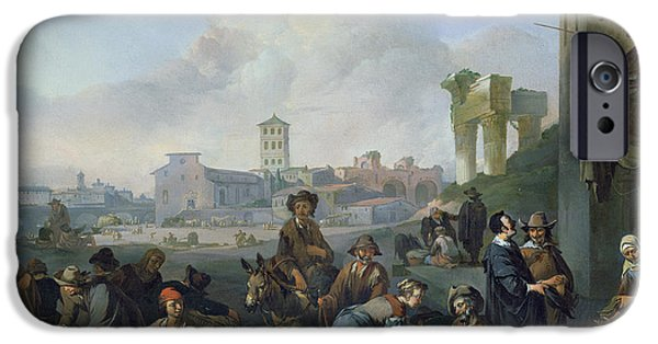 Columns iPhone Cases - A View In Rome, 1668 Oil On Canvas iPhone Case by Johannes Lingelbach