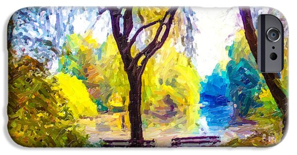 Rainy Day iPhone Cases - A view of a park and lake during autumn season iPhone Case by Lanjee Chee