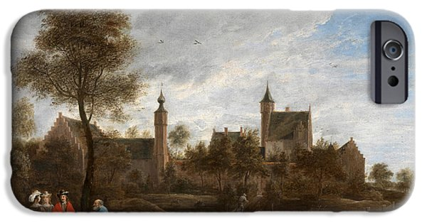 Het Paintings iPhone Cases - A View of Het Sterckshof near Antwerp iPhone Case by David Teniers the Younger