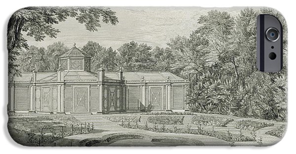 Garden Drawings iPhone Cases - A View of the Aviary and Flower Garden at Kew iPhone Case by Thomas Sandby