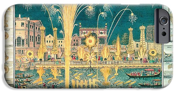 Catherine White Photographs iPhone Cases - A View Of The Fireworks And Illuminations At His Grace The Duke Of Richmonds At Whitehall iPhone Case by English School