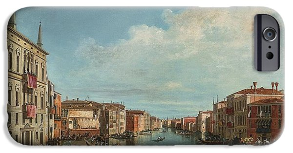 The Followers iPhone Cases - A View Of The Grand Canal With A Regatta iPhone Case by Celestial Images