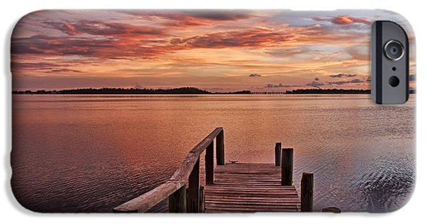 A Summer Evening Landscape iPhone Cases - A View To The Bay - Sunset Clouds iPhone Case by HH Photography of Florida