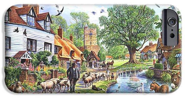 Donkey Digital Art iPhone Cases - A Village in Spring iPhone Case by Steve Crisp
