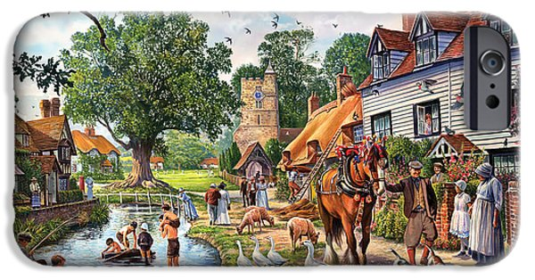 Rural iPhone Cases - A Village in Summer iPhone Case by Steve Crisp